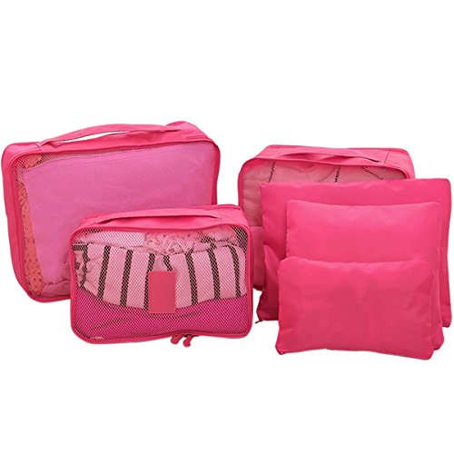 Voyage Bag Organizer Main Mesh Pcs fonctionnel Stockage Oxford Rouge Chaussures 6 Multi Tissu Etanche À Bagages Rose Pouch Gosear® Sac OT0q7w