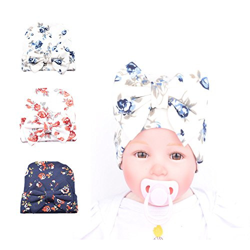 Fairy Nursery (Ever Fairy 3 Pcs Newborn Hospital Hat Infant Baby Hat Cap with Big Bow Soft Cute Knot Nursery Beanie Floral print)