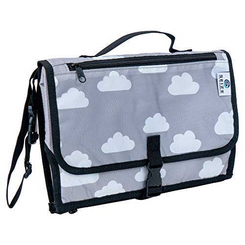 Seized Portable Baby Changing Pad - Diaper Clutch Bag - Lightweight Travel Station Kit for Diapering - Detachable Waterproof Wipeable Mat - Grey with Premium Mesh Zippered Pockets