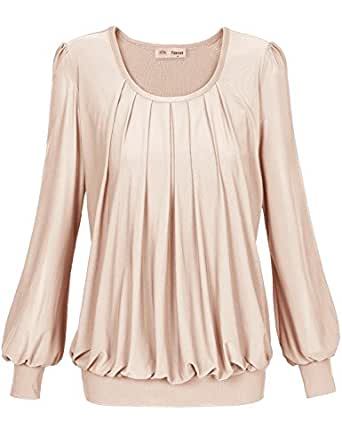 Timeson Womens Long Sleeve Scoop Neck Pleated Front Fitted Blouse Top Medium Beige
