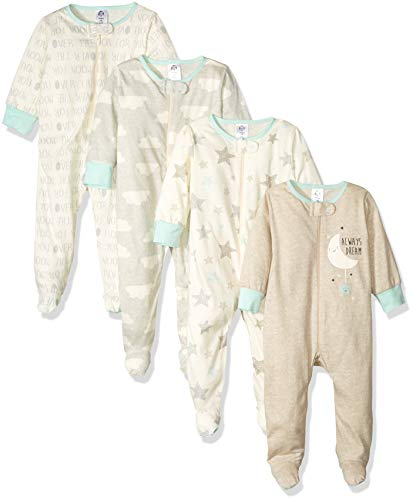 Gerber Baby 4-Pack Sleep N' Play, Grey/Green, Newborn