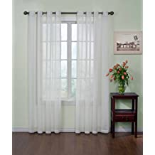 Curtain Fresh 59 by 95-Inch Arm and Hammer Odor Neutralizing Sheer Voile Grommet Curtain Panel, White