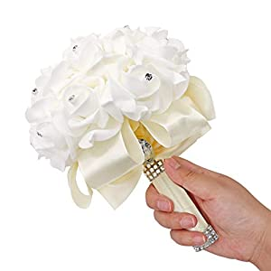 123 TEST Artificial Flowers Bride Holding Bouquet Handmade Silk Roses Flowers for Wedding Engagement Valentine's Day Church Party and Home Hotel Office Garden Craft Art Decoration(Milk White) 4