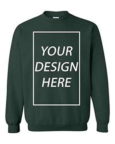 City Crewneck Sweatshirts - Add Your Own Text Design Custom Personalized Crewneck Sweatshirt (Large, Forest Green)