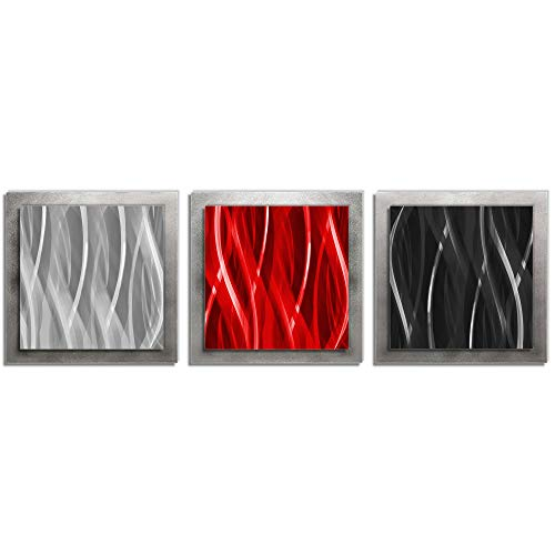 Red and Silver Metal Art 'Red Black Silver Essence' - Layered Multi-Panel Wall Sculpture, Versatile Warm Tones Contemporary Modern Home - Silver Tone Accent Metal