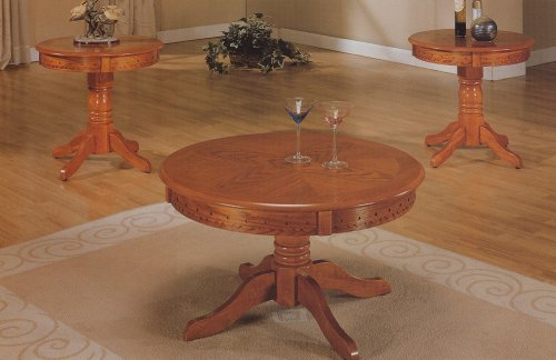 3pc Oak Finish Wood Round Occasional Coffee Table & 2 End Tables Set