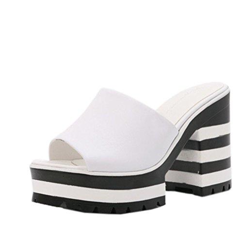 Damen Sommer Clogs & Pantoletten mit Absatz High Heels Sandalen Plateau Freizeitschuhe Slipper Weiß
