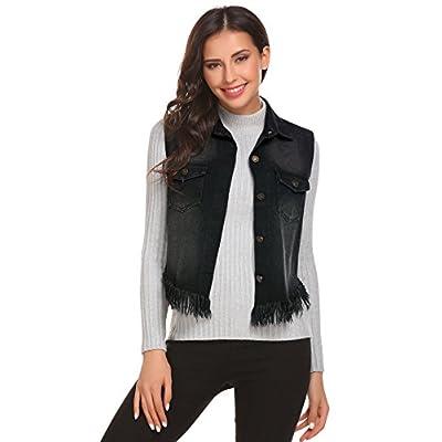 New Zeagoo Women's Fray Hem Jean Vest Flap Pockets Buttoned Washed Denim Jacket