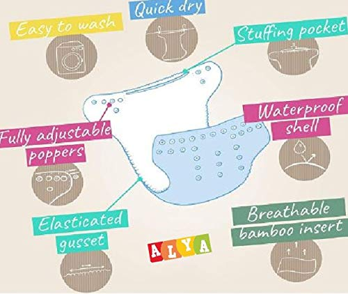 Alya Baby Reusable Cloth Diapers All in One Adjustable Pocket Style Nappies Washable With White Microfiber(4 layers) Wet-Free Insert Pads (0-24 Months,3-16KG) (PACK OF 2, BLUE,PURPLE)
