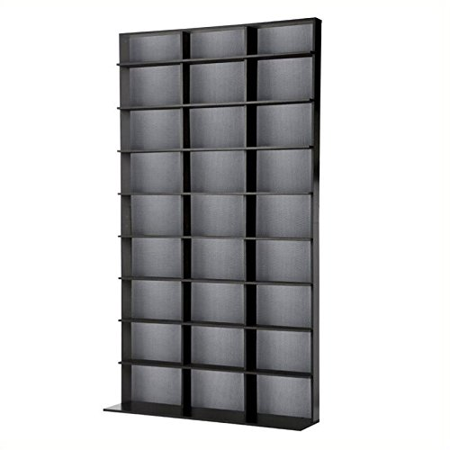 Pemberly Row 72'' Large Media Rack in Black