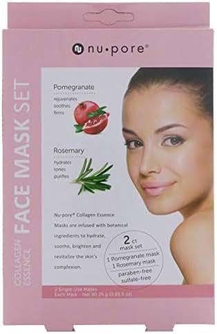 Nu-Pore Collagen Essence Face Mask Set Pomegranate Rosemary 2 Single-Use Masks 0 85 fl oz 25 g Each
