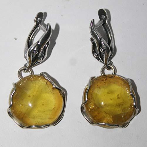 Rare heliodor earrings, yellow beryl earrings, genuine color, 18x18x4 mm