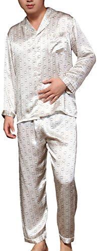 シルクパジャマ メンズ 絹100% 紳士用 サークル柄 長袖 上下セット
