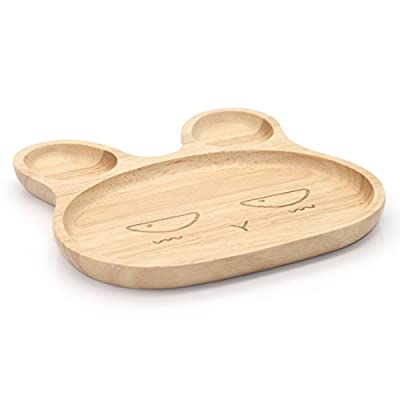 Geeklife® Cute Baby Rubber Wood Plate,Handcraft Kid Dinner Plate,Creative Peeved Look Serving Platter,Reusable,Safe and Eco-friendly