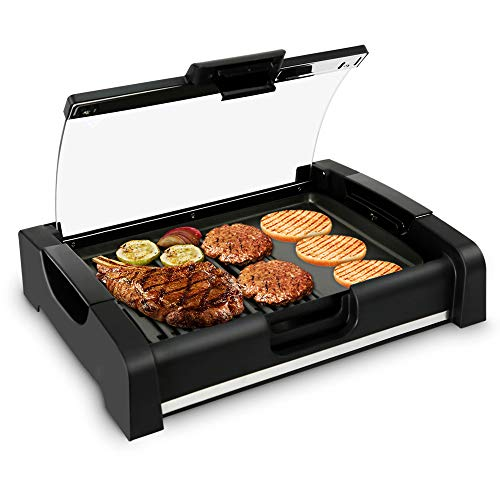 Electric Grill and Griddle Cooktop - Dual Hot Plate Cooktop Crepe Maker w/Grill and Glass Lid, Nonstick Coating, Adjustable Temperature Control and Grease Tray for Kitchen and Countertop - NutriChef