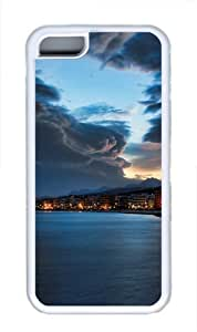 iPhone 5C Case Cover - Shoreline At Night TPU Back Case for Apple iPhone 5C - White