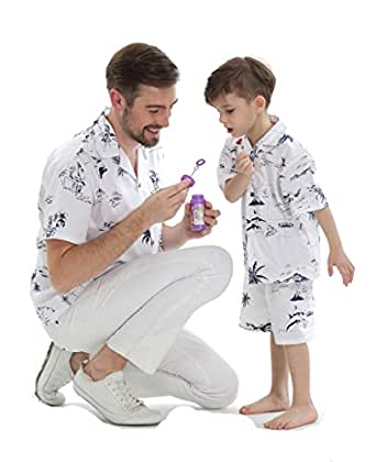 Hawaii Hangover Matching Father Son Hawaiian Luau Outfit Men Shirt Boy Shirt Only Classic White Flamingo S-10
