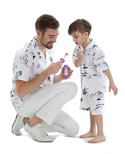 Luau Outfits For Adults (Matching Father Son Hawaiian Luau Outfit Men Shirt Boy Shirt Shorts Classic White Flamingo M-8)