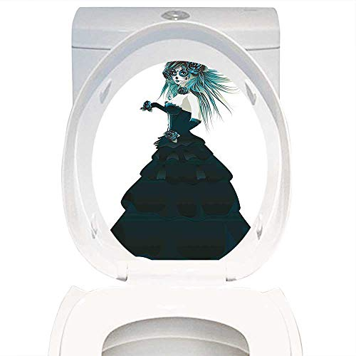 Qianhe-Home Toilet Seat Decal Girly Decor Sugar Skull Girl with Prom Dress Roses in Hand Gothic Halloween Lady Zombie Vampire Image Green White. Decal Sticker for Toilet Decoration W15 x L17