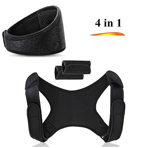 (Tourmaline Magnetic Therapy Thermal Self-Heating Neck Pad Massager Belt& Posture Corrector for Men & Women Best-Adjustable Shoulder Back Brace Support 4Pcs)
