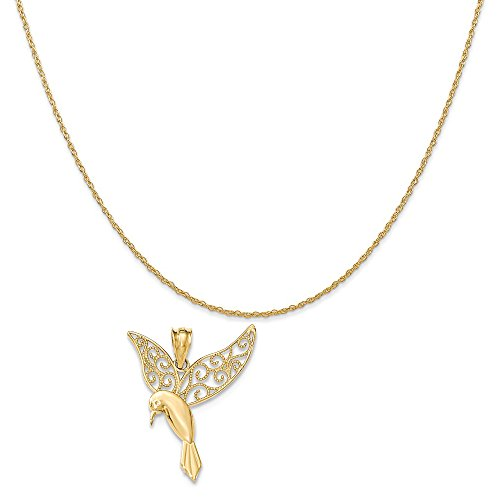 Mireval 14k Yellow Gold Polished Hummingbird Pendant on a 14K Yellow Gold Rope Chain Necklace, 18