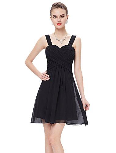 Ever-Pretty Short Chiffon Form Dresses Black Party Dresses With Straps 10 US