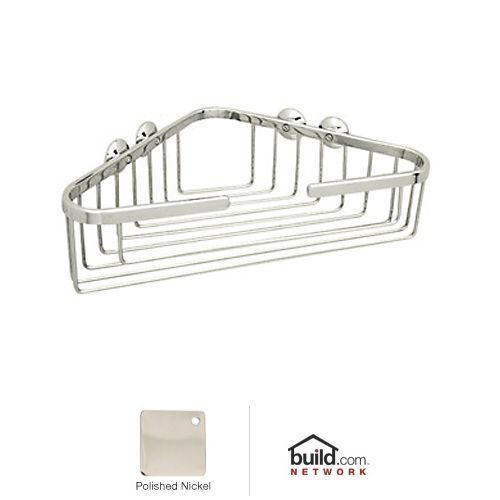 Rohl BSK15PN 13-1/4-Inch Wide by 3-1/2-Inch Deep by 8-1/4-Inch From Corner to Front Edge Wall Mounted Large Corner Basket in Polished Nickel by Rohl