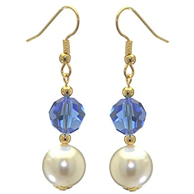 Alexia Gold Plated Sapphire Blue White Faux Pearl Hook Earrings