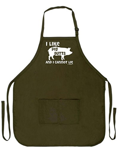 Funny Pig (I Like Pig Butts and I Cannot Lie Funny Apron for Kitchen BBQ Barbecue Cooking Baking Crafting Gardening Two Pocket Apron for Bacon Lover Apron Military Olive Green)