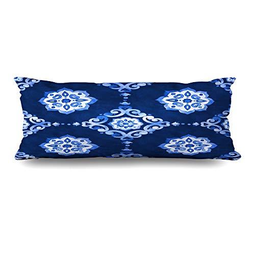 Ahawoso Body Pillows Cover 20x54 Inches Flourish Navy Abstract Watercolor Royal Blue Velour Tile Coastal Antique Circles Classic Cobalt Decorative Cushion Case Home Decor Pillowcase (Classic Print Pillow Pack)