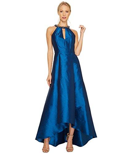 削るピークブロッサム[アドリアナパペル] Adrianna Papell レディース Sleeveless Halter Gown with High-Low Hem and Beaded Necklace Detail ドレス Peacock 14 [並行輸入品]