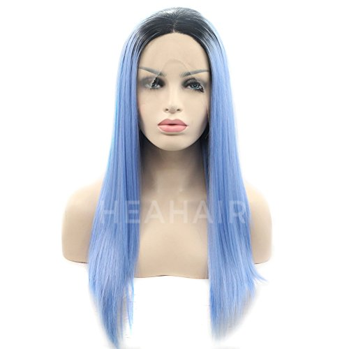 Heahair Ombre Dark Root Blue Violet Straight Handtied Synthetic Lace front Wig by Heahair (Image #3)