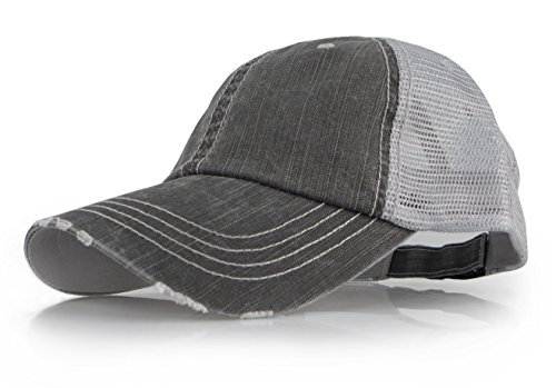 Mesh Vintage Cap (Baseball Trucker Distressed Vintage Denim Mesh Adjustable Cap (Denim Grey))
