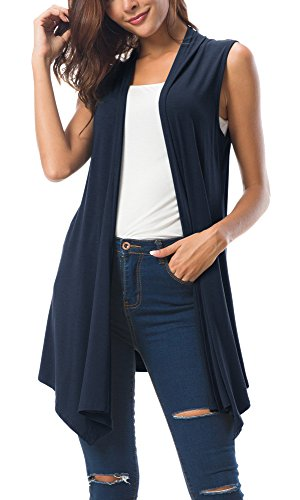 Urban CoCo Women's Sleeveless Draped Open Front Cardigan Vest Asymmetric Hem (M, Navy Blue) by Urban CoCo