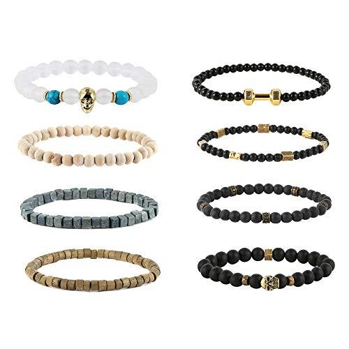 (HZMAN Mix 8 Wrap Bracelets Men Women, Hemp Cords Wood Beads Ethnic Tribal Bracelets, Barbell Skull Wristbands)