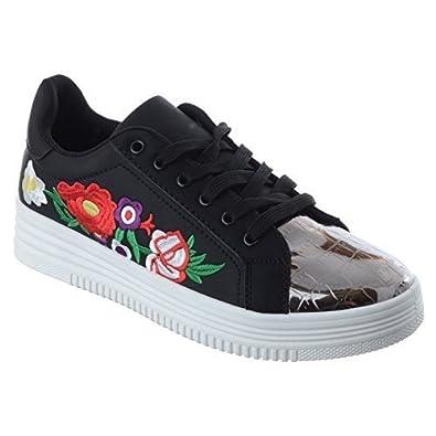 Damen Blumenmuster bestickt Schnürer Turnschuhe Pumps Schuhe Gre