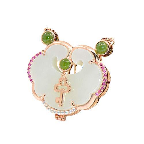 LXIANGP Women's Necklace, S925 Silver Inlay Jade Pendant Ruyi White Jade Lock Jasper Neck Jewelry Female Birthday Chain Length 50cm