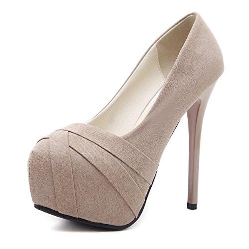 ZHZNVX La primavera y el verano europeo y americano nuevo alto talón Zapatos impermeables de cabeza redonda está bien con sandalias ultra-Zapata apricot