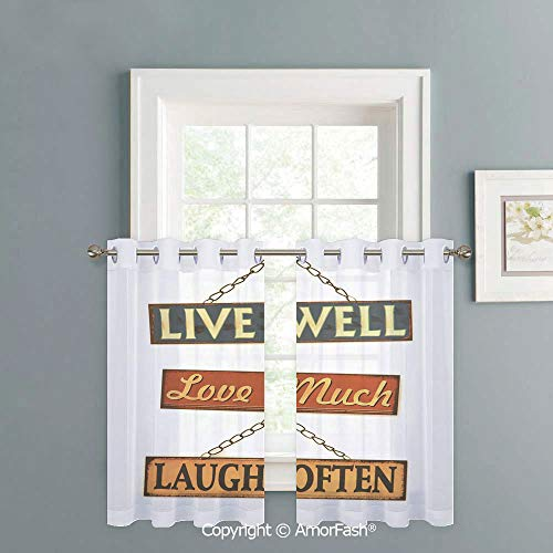 (AmorFash Cafe Curtains Lattice Kitchen Window Curtain Sets for Bathroom,2 Panels,W42 x L45-Inch,Live Laugh Love Decor Live Well Love Much Laugh Often Rusty Signs Tied with Chains Print Decorative)