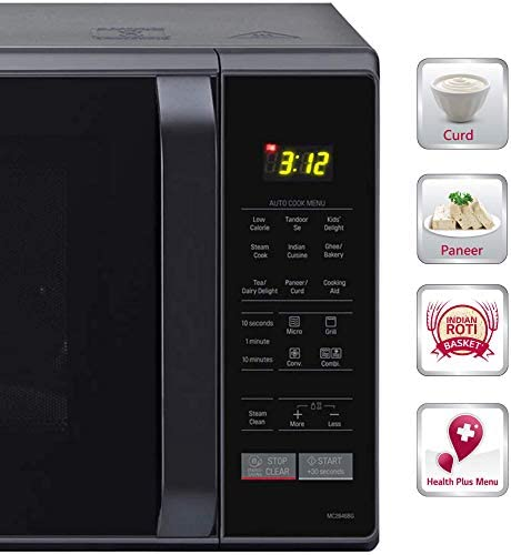 (Renewed) LG 28 L Convection Microwave Oven (MC2886BPUM, Floral Purple, Diet Fry, With Starter Kit)