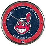Cleveland Indians Round Chrome Wall Clock - MLB Licensed