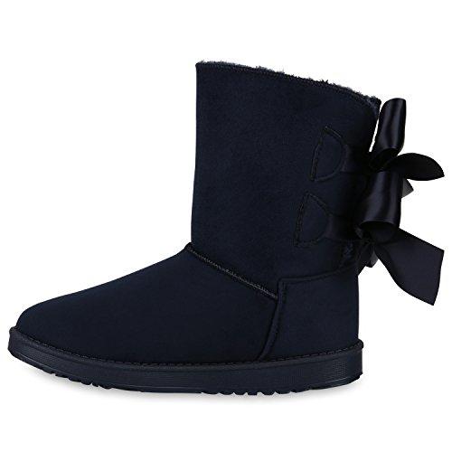 Stiefelparadies Damen Stiefeletten Schlupfstiefel Warm Gefütterte Stiefel Schuhe Flandell Dunkelblau Schleifen