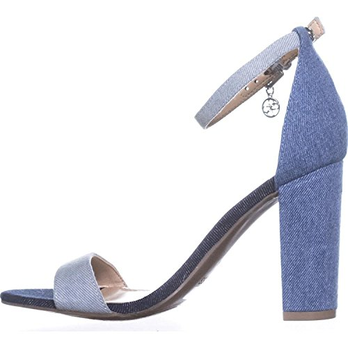 Guess Womens Bamboo Open Toe Casual Ankle Strap Sandals, Denim Blue, Size 8.5 (Sandals Ankle Guess Strap)