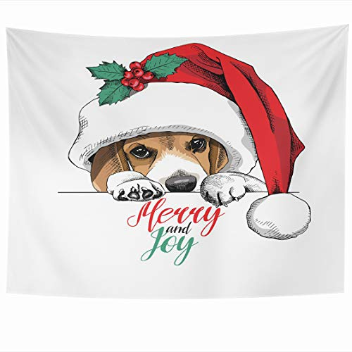 Decor 80 x 60 Inches Beagle Dog Big Santas Year Cap Holly Wildlife Holidays Design Adorable Tapestries Wall Hanging Home Decor for Home Office Bedroom ()