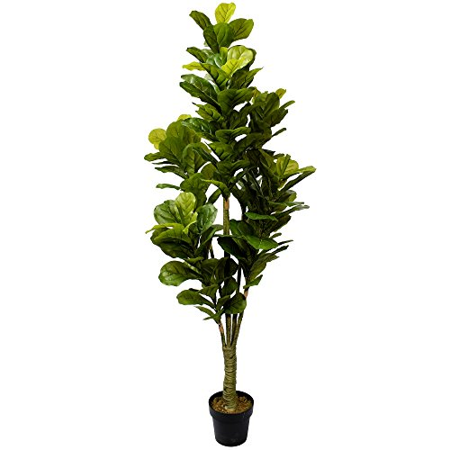 6' Real Touch Fiddle Leaf Fig Silk Tree w/Pot -162 Leaves -Green