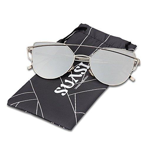 SUASI Womens' Sunglasses Vintage Reflective Cat Eye Aviator Sunglasses 66080(silvery, - Aviator Reflective Sunglasses