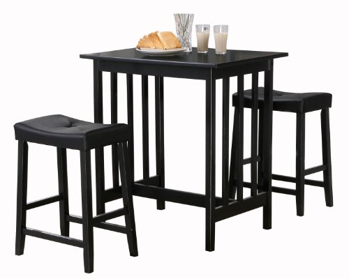 - Homelegance 5310BK-MTL 3-Piece Counter Table and Stools in Black