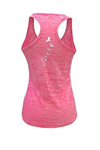 Tough Cookie's Women's Back Print Birds Burnout Tank Top (X-Large, Neon Pink)