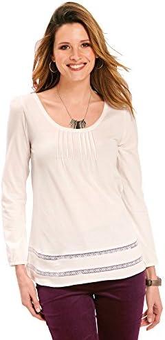 VENCA Camiseta jaretas en el Delantero y entredós de blonda en el bajo Mujer - 008937: Amazon.es: Ropa y accesorios