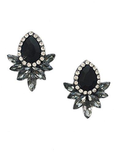 (Art Deco Antique Vintage Style Jet Black Onyx Rhinestone Cluster Earrings)